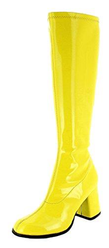 Das Kostümland Gogo Damen Retro Lackstiefel - Gelb Gr. 38 - Tolle Schuhe zur 70er 80er Jahre Disco Hippie Mottoparty