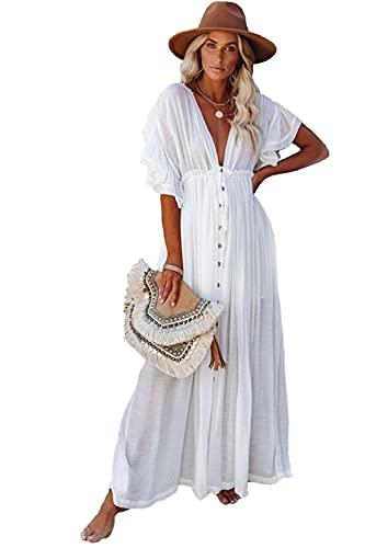 BRONG Strandkleid für Damen, ästhetische Blusen, Kimono, Cardigan, lang, Bikini, Überzug, Boho-Kleid Gr....