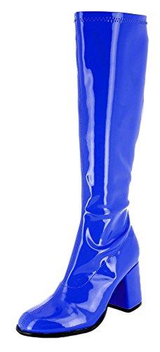 Das Kostümland Gogo Damen Retro Lackstiefel - Royalblau Gr. 38 - Tolle Schuhe zur 70er 80er Jahre Disco Hippie...