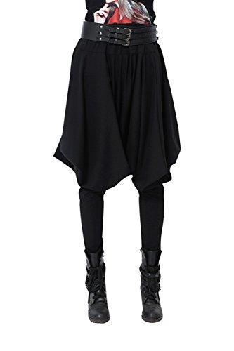 ELLAZHU Damen Hippie Mode Haremshose Einheitsgröße GY508 Schwarz