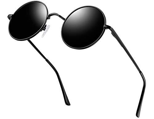 KANASTAL Sonnenbrille Herren Damen Polarisiert John Lennon Metallkreis Hippie Steampunk Runde Retro Mode mit 100%...