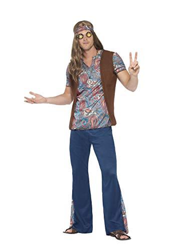 Smiffys 45517XL - Herren Hippie Kostüm, Oberteil, Hose, Kopftuch und Medaillon Größe: XL, blau