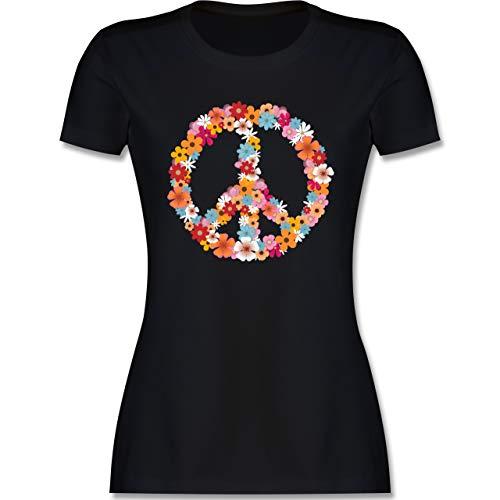 Sprüche Statement mit Spruch - Peace Flower Power - XL - Schwarz - Flower Power Herren - L191 - Tailliertes Tshirt für...