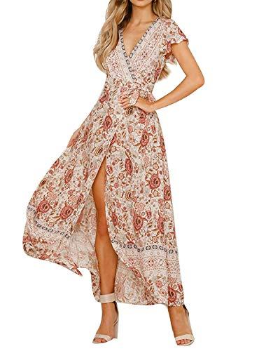 MINTLIMIT Kleider Damen Boho Sommerkleid Blumen V-Ausschnitt Kurzarm Wrap Split Maxikleid Vintage Standkleid Weiß L