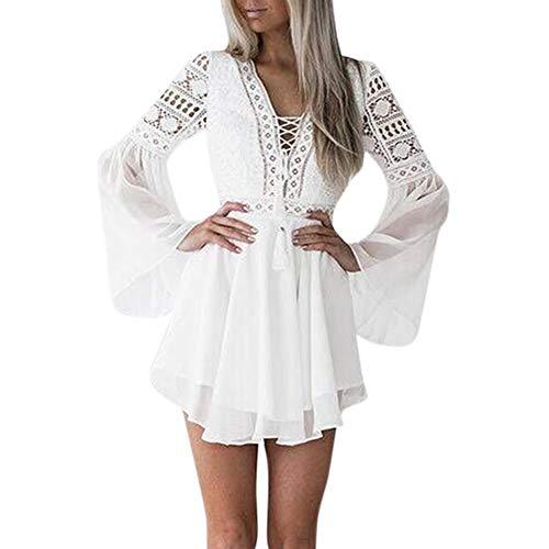 Goosuny Damen Abendkleid Kurz Spitze Sommerkleider Flare Sleeve Langarm Kleid V Ausschnitt Enge Minikleid Sexy...