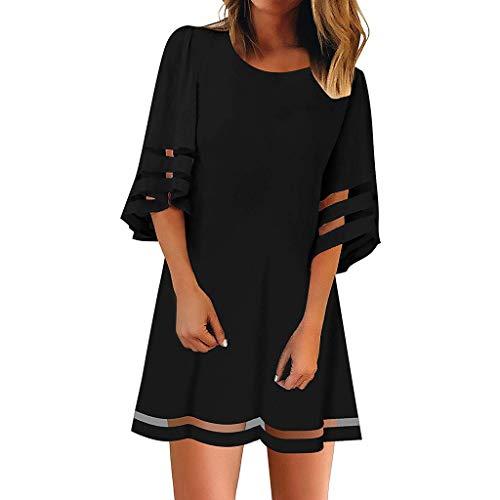 Elegante Kleider Damen Kleid Cocktailkleider Ronamick O Hals Mesh Panel Bluse 3/4 Bell Ärmel Lose Top Shirt Kleid für...