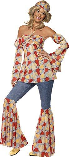 Smiffys, Damen 70er Jahre Vintage Hippie Kostüm, Neckholder-Top, Ärmel, Schlaghose und Stirnband, Größe: M, 39434
