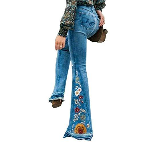 Vertvie Damen Jeans Bootcut Jeanshose Mit Hohem Bund Casual Lange Mode Hose Weite Schlaghosen Retro Stil Denim Hose (EU...