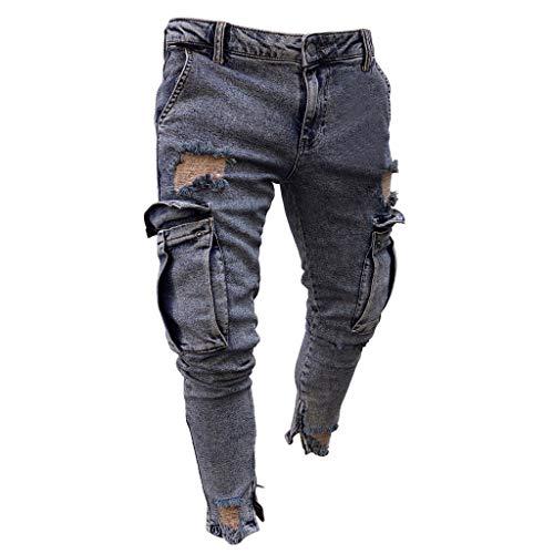Fannyfuny Mode Herren Destroyed Jeans-Hose mit Taschen Reißverschluss Herren Slim Fit Jeans Denim Used Look Mit...