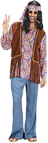 Widmann 7541H - Kostüm Psychedelic Hippie Man, Hemd mit Weste, Hose, Stirnband, Kette, Flower Power, Verkleidung,...