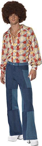 Smiffys, Herren 70er Retro Kostüm, Hemd und Patchwork Denim Hose, Größe: L, 22277