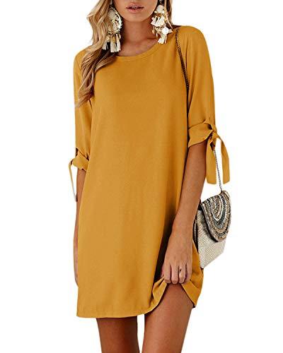 YOINS Damen Kleider Tshirt Kleid Sommerkleid für Damen Rundhals Brautkleid Langarm Minikleid Kleid Langes Shirt Lose...
