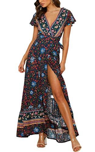 ECOWISH Damen Kleider Boho Sommerkleid V-Ausschnitt Maxikleid Kurzarm Strandkleid Lang mit Schlitz Schwarz Blau L