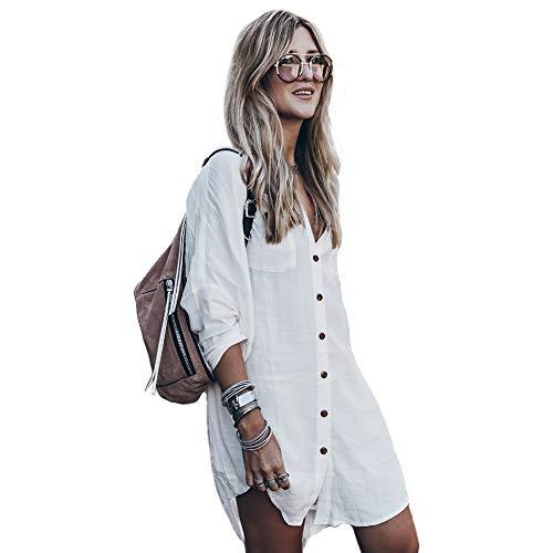 Damen Sommerkleid Boho Bikini Cover Up Strandkleid Bademode Mittlere Länge Kaftan Bluse (Weiß, M)