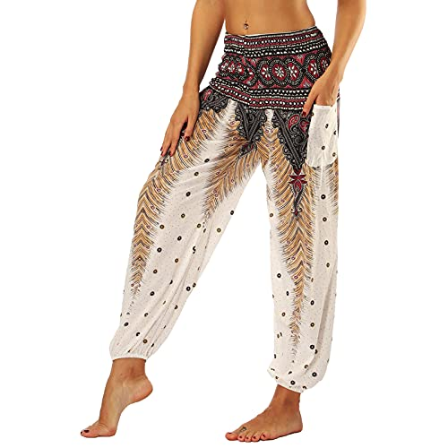 Nuofengkudu Frau Hippie Hose Pumphose Haremshose Aladdinhosen Boho Gemustert Gesmockte Taille mit Taschen Yogahose...