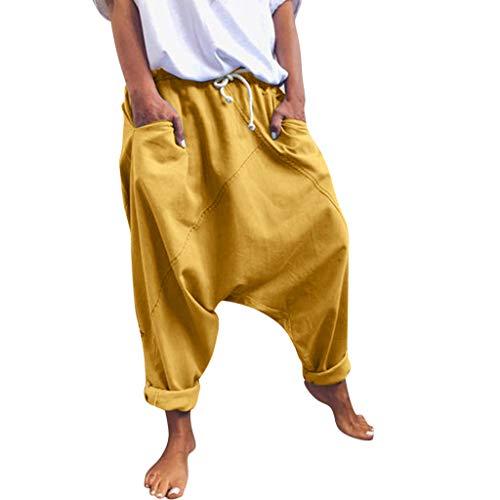 Auiyut Damen Haremshose mit tiefem Schritt Aladinhose Yoga Pumphose Baggy Ballon Yoga Hose Jumpsuit Baggy Sweatpants...