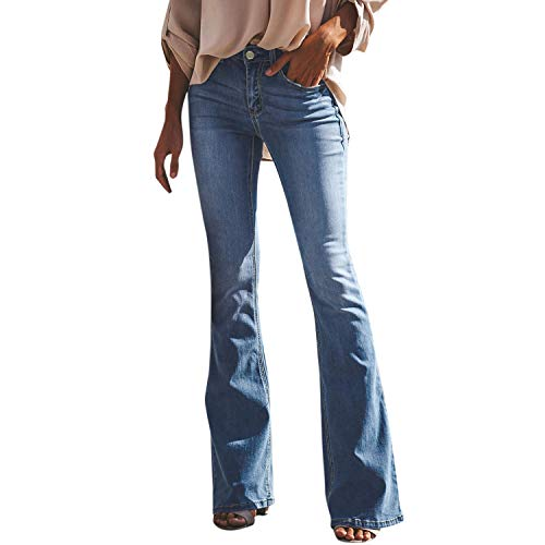 Petalum Damen Jeans Schlaghose Flared Bootcut Hose Mode Slim Fit High Waist Stretch Skinny Jeanshose Denim Pants mit...