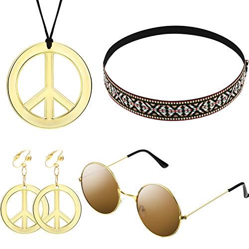 Hippie Kostüm Satz für Damen und Herren mit Sonnenbrille, Frieden Zeichen Halskette und Frieden Zeichen Ohrring sowie...