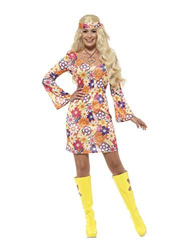 Smiffys 45520M - Damen Blumen Hippie Kostüm, Kleid, Haarband und Medaillon, Größe: 40-42, mehrfarbig
