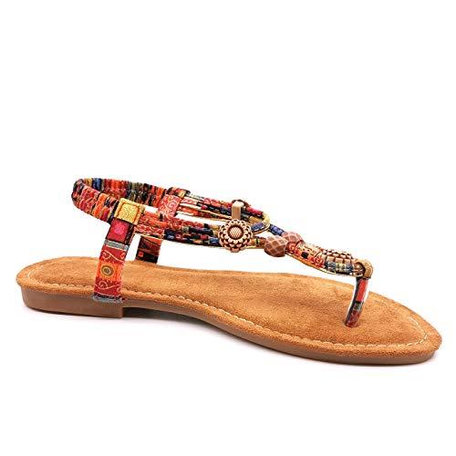 Angkorly - Damen Schuhe Sandalen Sandalen - Strand - Böhmen - Hippie - Hipster - elastisch - Perle - Aztekenmuster...