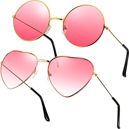 2 Paare Rosa Hippie Sonnenbrillen Retro Hippie Stil Sonnenbrillen Hippie Kostüm Sonnenbrillen Herren Damen Brillen...