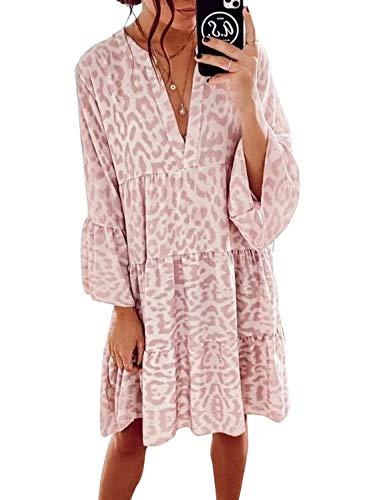 CORAFRITZ Lässiges Tunika-Kleid für Damen, Leopardenmuster, Rüschen, V-Ausschnitt, fließend, schwingend, lose...