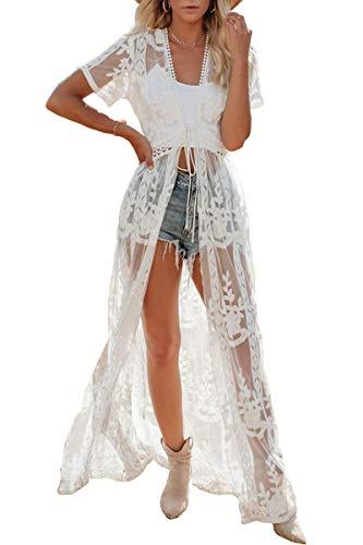AiJump Damen Boho Kimono Lang Kleid Strandkleider Cardigan Pareo Badeanzug Cover Ups