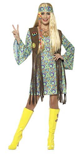 Smiffys 43127X1 Damen 60er Jahre Hippie Chick Kostüm, Kleid mit Weste, Medaillon und Haarband, Mehrfarbig, XL