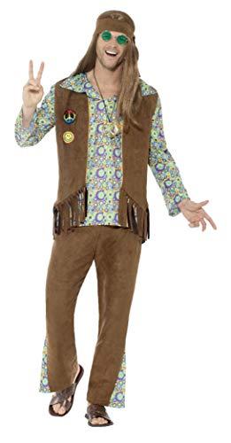 Smiffys Herren 60er Jahre Hippie Kostüm, Hose, Oberteil, Weste, Medaillon und Haarband, Größe: XL, 43126