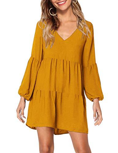 KOJOOIN Tunika Kleid Boho Bohemian Kleid Vintage Kleid Lose Casual Swing Kleid mit Gerafft Schmeichelhaft Gelb-langarm S