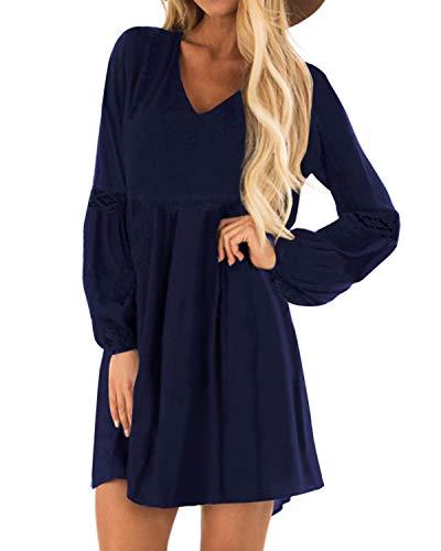 YOINS Sexy Kleid Damen Sommerkleid für Damen Babydoll Kleider Brautkleid Tshirt Kleid Rundhals Langarm Minikleid Langes...