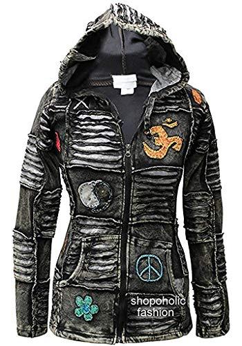 Shopoholic Mode Damen 100% Weiche Baumwolle Emo Punky Gothik Kapuzenjacke, Schwarz, S