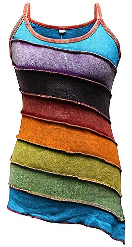 Shopoholic Mode Damen Stonewashed Rainbow Gestreift Hippie Boho Tank top - Mehrfarbig, XX-Large
