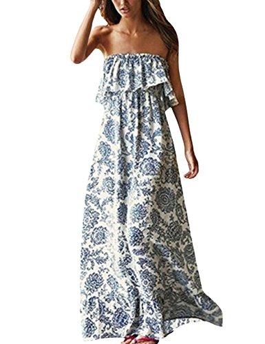 Yidarton Damen Sommer Kleider Blau und Weiß Porzellan Trägerlos Boho Maxi Lang Kleid Ärmelloses CocktailKleid...