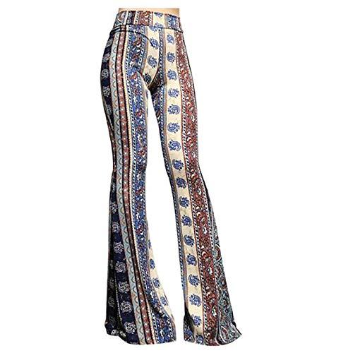 cinnamou Damen Schlaghose Flared Bootcut Hose Boho Hippie Hohe Taille Weites Bein Lange Ausgestelltes Palazzo Hose
