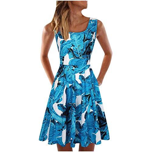 Sommerkleid Damen Knielang Kleider Boho Blumenmuster Ärmellos U Hals High Waist A-Linie Minikleid Frauen Sommer Elegant...