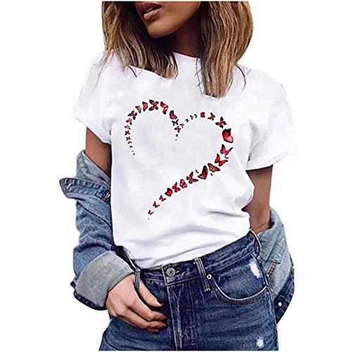 Damen T-Shirt Kurzarm Mode elegant Oberteile Sommer Farbe Schmetterling Drucken Tops Casual Basic Shirts...