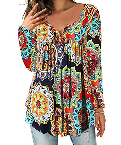 DEMO SHOW Damen Tunika Top Locker Langarm V Ausschnitt Knopfleiste Plissiert Floral Henley Shirt Bluse T Shirt (Orange,...