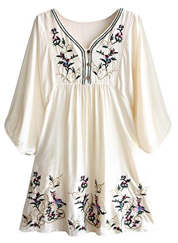 FUTURINO Damen Sommerkleid Bohemian Stickerei Floral Tunika Shift Bluse Flowy Minikleid,01 Beige,L