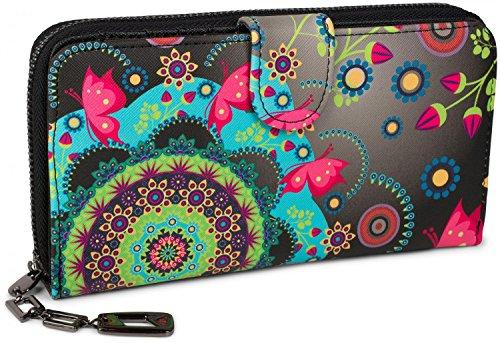 styleBREAKER Geldbörse mit Ethno Blumen und Blüten Muster, Vintage Design, Reißverschluss, Portemonnaie, Damen...
