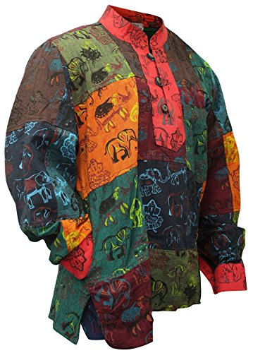 Shopoholic Fashion, Herren-Hemd, farbenfroh, sommerlich, Hippie-Hemd, Großvater-Hemd Gr. 58, multi