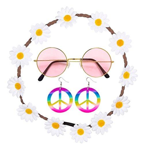 Amakando mit Haarband, Ohrringe und Brille Hippie Kostüm Set 60er Jahre Outfit Flower Power Haarschmuck Damen Mode...