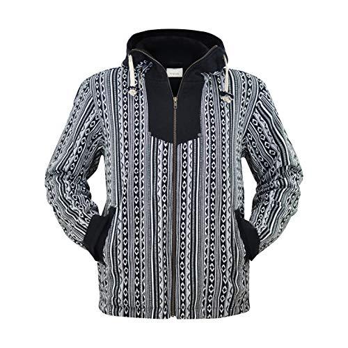 virblatt –Baja Jacke Poncho Herren Goa Hoodie Pullover Hippie Kleidung Ethno Mode - Amsterdam L