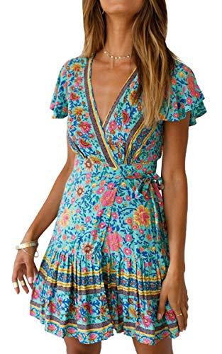 ECOWISH Damen Kleider Boho Vintage Sommerkleid V-Ausschnitt A-Linie Minikleid Swing Strandkleid mit Gürtel 045 Grün S