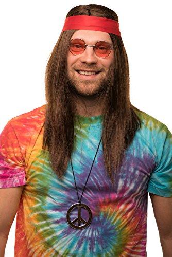 Balinco Hippie Set mit Perücke + runde Sonnenbrille + Peace Anhänger + rotes Kopfband für Herren & Damen 70er Jahre...