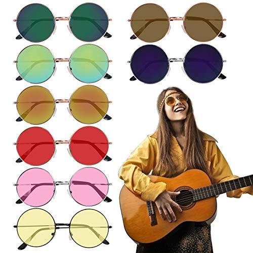 HAKOTOM 8er Hippie Brille Retro Sonnenbrille 60er Jahre Gläser John Lennon Rundbrille Vintage Partybrille Farbige...