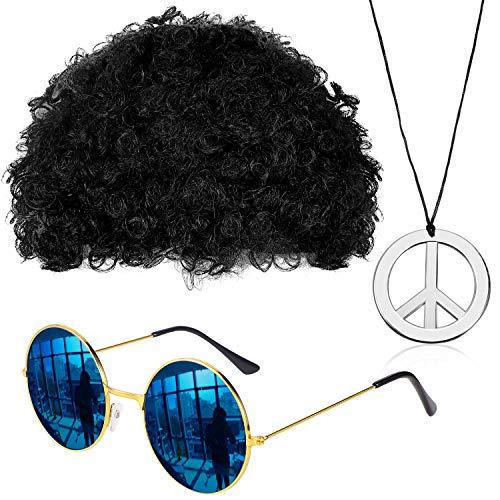 Gejoy Hippie Kostüm Set Mode Afro Perücke Sonnenbrille Frieden Zeichen Halskette für 50/ 60/ 70s Thema Party...