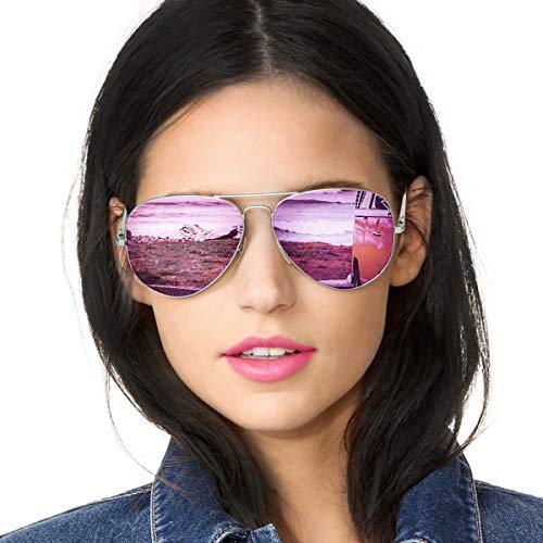 SODQW Pilotenbrille Sonnenbrille Damen Verspiegelt Polarisiert Mode Flieger Brille für Autofahren Angeln Metallrahmen...