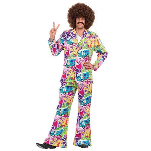 Fun Shack Lila Hippie Kostüm für Herren, 70er Jahre Anzug, Faschingskostüm Erwachsene - M