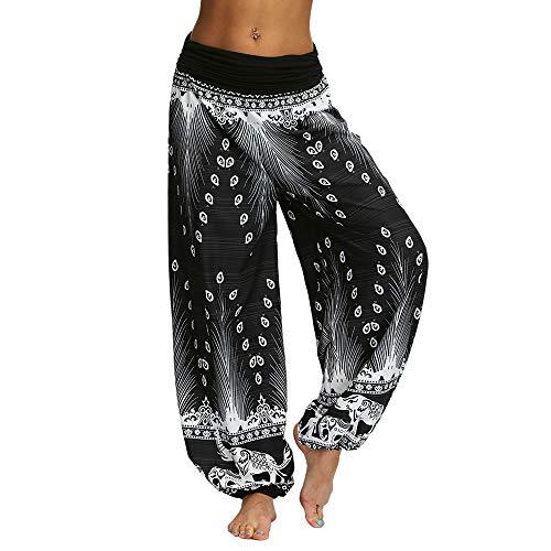 Nuofengkudu Damen Thai Hippie Hosen Haremshosen Baggy Yogahosen Leichte Boho Print Pluderhose High Waist Strandhose...
